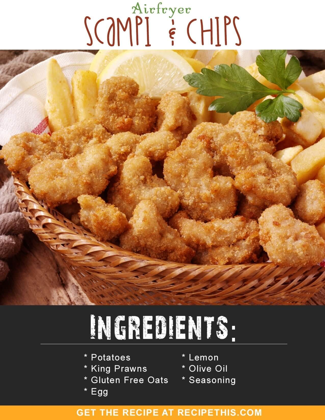 Airfryer Recipes | Airfryer Scampi & Chips Recipe from RecipeThis.com