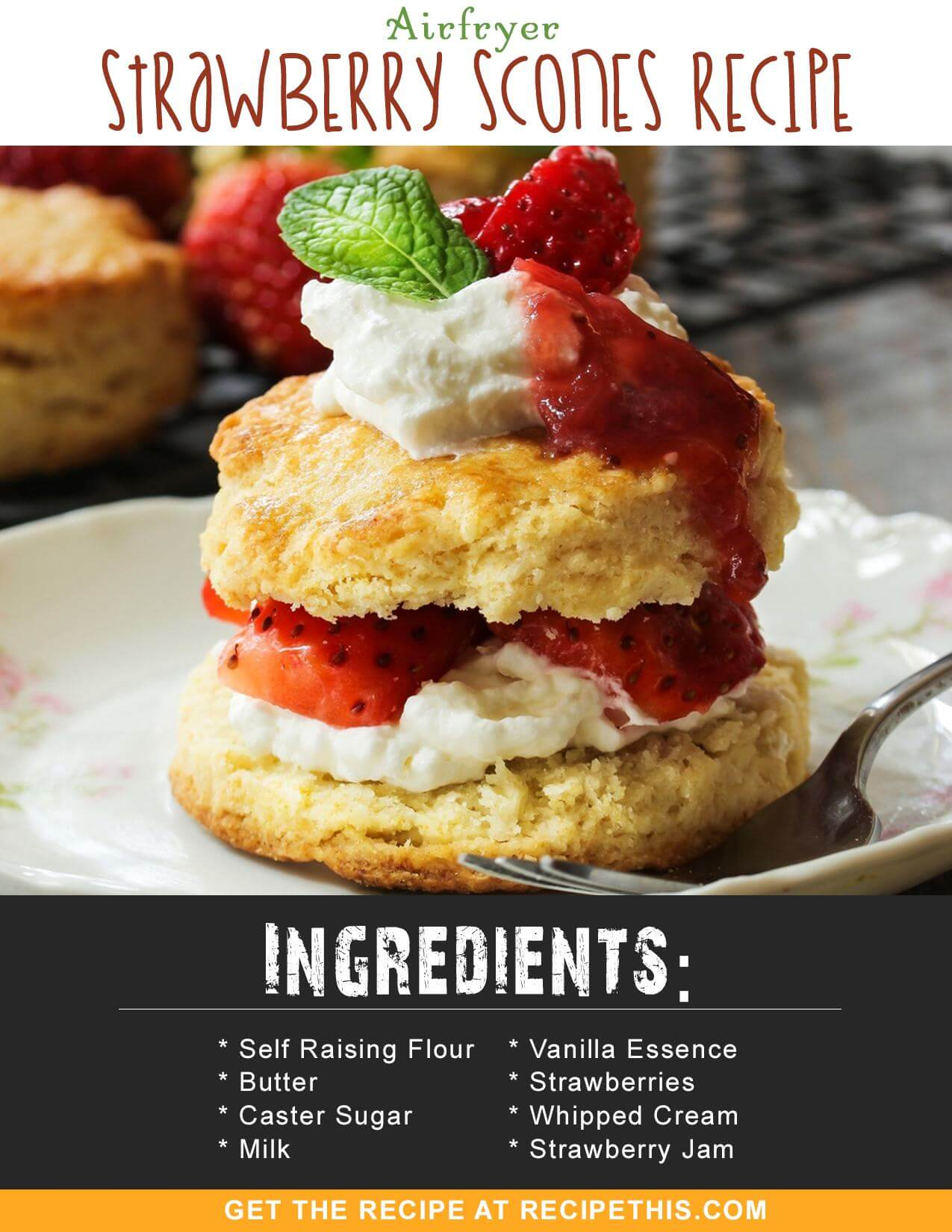 Airfryer Recipes | Airfryer Strawberry Scones Recipe from RecipeThis.com