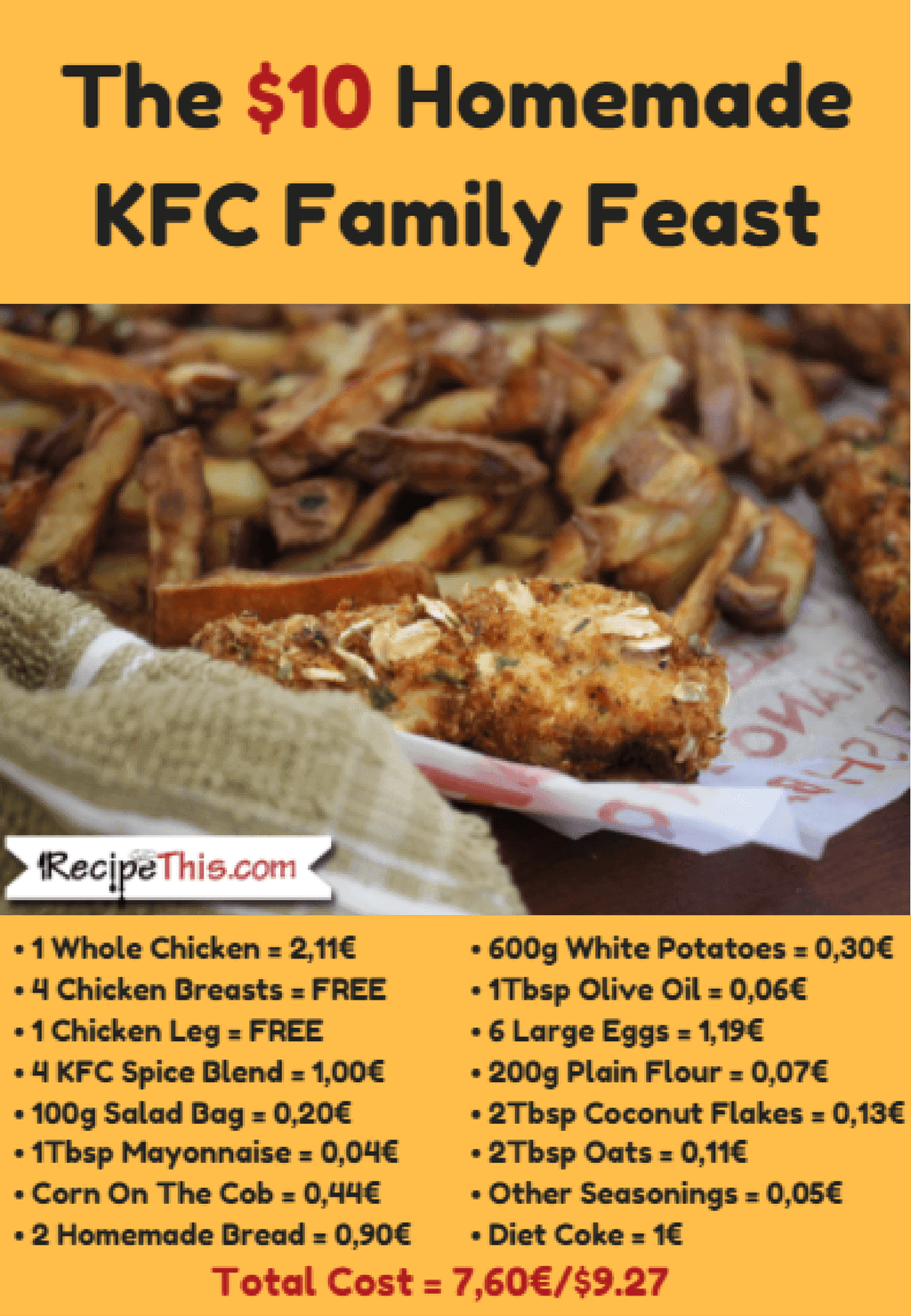 Cheap Family Meals The 10 dollar homemade KFC Feast