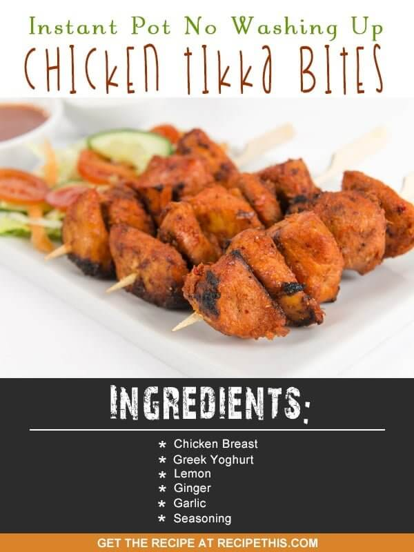 Instant Pot | Instant Pot No Washing Up Chicken Tikka Bites recipe from RecipeThis.com