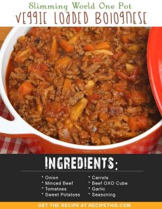 Slimming World Recipes | Slimming World One Pot Veggie Loaded Bolognese recipe from RecipeThis.com